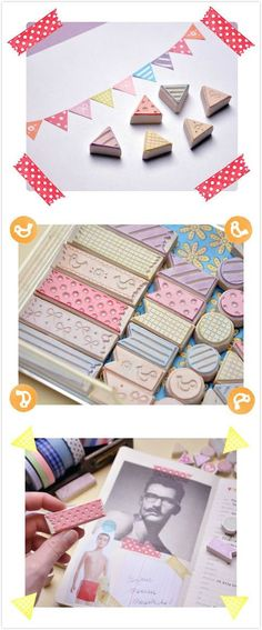 Hand carved rubber stamps inspired to washi tapes Diy Stamps, Handmade Stamps, Tape Crafts, Diy And Crafts, Stencil, Make Your Own Stamp, Silkscreen, Eraser Stamp, Stamp Carving