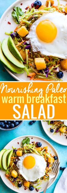 Breakfast salads are the best way to start the day! Create a healthy warm Paleo morning meal with lightly cooked broccoli cole slaw, onion, and squash topped with seasonal fruit and a protein rich fried egg! A nourishing breakfast salad worth waking up for! Easy, delicious, nutritious! @Lindsay - Cotter Crunch