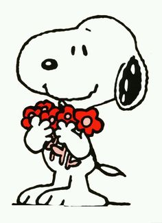 Snoopy holding flowers