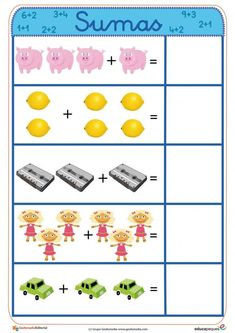 Fichas para aprender a sumar ➡➤ Sumas para niños Number Sense Activities, Kindergarten Math Activities, Toddler Learning, Teaching Kids, Certificate Of Recognition Template, English Grammar For Kids, Math Exercises, Math Lab, Material Didático