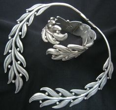 Necklace & Bracelet | Margot de Taxco.  'Leaves and berries'  Sterling silver.  c. 1950 - 1960s. Taxco / Mexican