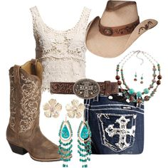 Cowgirl boots, Miss me Jeans, Lace, and Turquoise---- Everything I love! Minus the hat. real cowgirls don't do hats like Toby Keith lol Style Cowgirl, Cowgirl Outfits, Western Outfits, Cowgirl Boots, Western Wear, Gypsy Cowgirl, Mode Country, Estilo Country, Country Girl Style