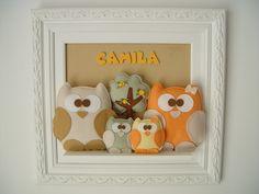 (MA 0137) Quadro maternida corujinhas | PIPEeGUCA decoração infantil,móveis,enxoval,lembrancinhas nascimento,aniversário,quadros,pipe e guca...