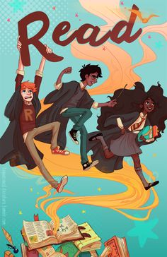 """I got a request to make a """"Read"""" poster for an elementary school library with my interpretations of the HP characters! So fun to work on! (• ◡ •)/ If you'd like to own your very own """"Read"""" poster, this print is up on my Society6!"""