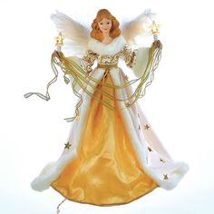 Top off your Christmas tree with the classic elegance of the Kurt Adler 16 in. Cream and Gold Angel Tree Topper . This lighted tree topper features. Lighted Angel Tree Topper, Star Tree Topper, Snowman Christmas Tree Topper, Christmas Angels, Christmas Decorations, Gold Christmas, Merry Christmas, Xmas, Light Angel