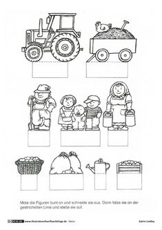 Farm Complete Crafting Template: Yard with Barn Animals Tractor Garden Nursery Teacher, Barn Animals, Woodworking Crafts, Tractors, Illustrators, Coloring Pages, Crafts For Kids, About Me Blog, Bullet Journal