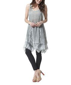 Gray Lace Godet Tunic