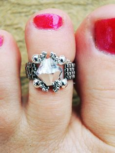 Stunning Swarovski Crystal Argent Silver Bicone Beaded Toe Ring - Royalty Ring, $15.00 Soleless Sandals, Custom Earrings, Toe Rings, Organza Bags, Swarovski Crystals, Jewelery, Wedding Rings, Engagement Rings, Beaded Jewelry