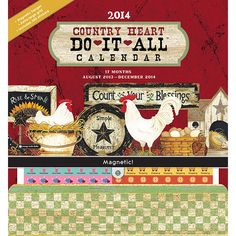 Country Heart Do It All 2014 Wall Calendar: The Do It All makes planning enjoyable and uncomplicated with colorful stickers to mark events, plenty of room to write, thick paper to allow easy erasing, and a large pocket to store all of those unsorted bits. Magnetic hanger makes this calendar easy to use on the refrigerator or on the wall. http://www.calendars.com/Orange-Circle-Studios/Country-Heart-Do-It-All-2014-Wall-Calendar-/prod201400002478/?categoryId=cat460002=cat460002
