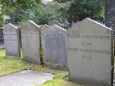 Wordsworth family graves, Grasmere, Lake District, Cumbria, England, UK