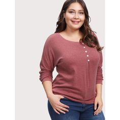 3bb40a9078022 Button Front Marled Knit Tee Plus Size T Shirts