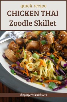 This quick and easy chicken skillet meal is infused with thai flavors and lots of veggies - including zoodles! The whole family will love it! Easy Thai Recipes, Quick Chicken Recipes, Quick Recipes, How To Cook Chicken, Quick Meals, Fall Recipes, Tom Yum Soup, Easy Skillet Meals, Counting Carbs