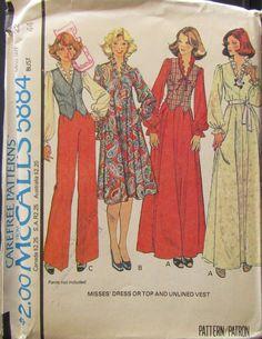 db92e21f283 McCalls 5884 Misses Dress or Top   Vest Sewing Pattern Size 22 Uncut