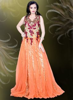2d4ddf0f1f6 Buy Cute Peach Net Embroidered Work Readymade Gown