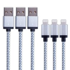 Duractron 3 x 1m Cable Lightning a USB Nylon Conector aluminio para IPhone 6, 6s, iPhone 5, 5s, IPad IPod y Mac - https://complementoideal.com/producto/tienda-socios/duractron-3-x-1m-cable-lightning-a-usb-nylon-conector-aluminio-para-iphone-6-6s-iphone-5-5s-ipad-ipod-y-mac-color-blanco/