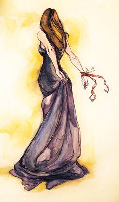 Beautiful purple dress watercolor // Abigail Larson