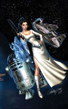 Variant cover art by J Scott Campbell & Nei Ruffino for 'Princess Leia' issue #1, published March 2015 by Marvel Comics