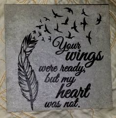 A touching tribute for our loved ones who we have lost too soon. These tiles have a cork backing and look great displayed on a plate stand or easel. Wooden Ipad Stand, Angle Wings, Bereavement Gift, Plate Stands, Plate Design, Sympathy Gifts, Decorative Tile, Vinyl Projects, Project Yourself