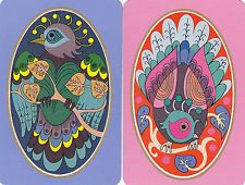 2 (pair) single vintage playing swap cards - Deco Peacocks
