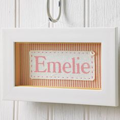 personalised fabric framed baby name by little foundry | notonthehighstreet.com
