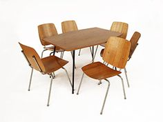 Coray Hans Dining chairs and table by Heinrich Kihm AG 1950 Table And Chairs, Dining Chairs, Vintage Furniture, Furniture Design, Swiss Design, Contemporary Design, Modern, Home Decor, Trendy Tree