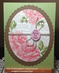 Stampin' Up! Stippled Blossoms and Dictionary Background card with Blushing Bride, Soft Suede and Pear Pizzazz ink and card stock.