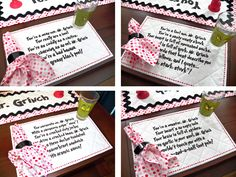 Close ups of Who-ville Placemats and Napkins with lyrics #DrSeuss #Grinch #Whoville