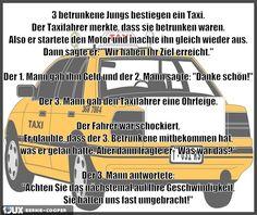 3 betrunkene Jungs bestiegen ein Taxi
