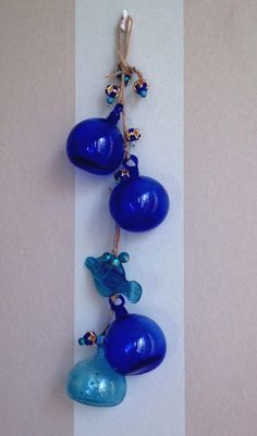 This beautiful Mobile ,dark blue cobalt glass - can be used as wind chime or wall decoration. The great combination of Blue Cobalt Glass and