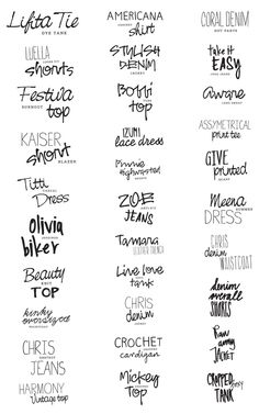 This picture shows the different kinds of fonts through pens and name brands. From bold lettering to cursive it displays a variety of typography. Typography Love, Typo Logo, Typography Inspiration, Graphic Design Inspiration, Fancy Fonts, Cool Fonts, Script, Creative Fonts, Beautiful Fonts