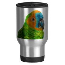 Brazilian Parrot Travel Mug by Lily in the Studio