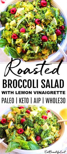 You'll love this healthy Roasted Broccoli Salad with Lemon Vinaigrette recipe! Roasting broccoli makes it extra yummy! + gentler and easier to digest, therefore more nutritious! Great for Paleo, Keto, Healthy Side Dishes, Side Dish Recipes, Tasty Dishes, Healthy Salad Recipes, Real Food Recipes, Vegetarian Recipes, Lemon Vinaigrette, Vinaigrette Recipe, Broccoli Salad