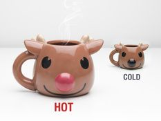 Home & Gardening - Rudolph Heat Change Mug, The mug with a red nose!