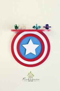 Captain America Shelf Shelf For Baby Nursery Kids Room Wall Avengers Room, Marvel Room, Boy Room, Kids Room, Child Room, Captain America, Marvel Nursery, Kids Dressers, Superhero Room