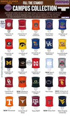 Scentsy 2016 Campus Collection Mini Warmers to celebrate your Pride and Spirit in your favorite College team. 25 Mini helmet warmers including 5 brand new warmers for the 2016 Spring Summer Catalog out March 1. Scentsy Mini Warmers, Scentsy College Mini Warmers. Available at https://postalgirl.scentsy.us . College Football, NFL