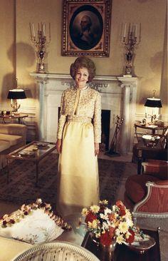 Pat Nixon in her inaugural gown, 1969