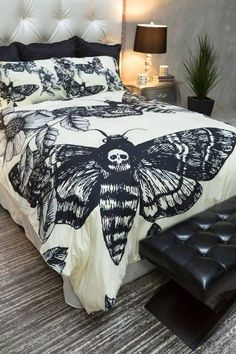 Featherweight Moth Skull Bedding - Black Skull Death Moth Print on Cream - Comforter Cover - Skull Duvet Cover Skull Bedding Set USD) by InkandRags Goth Home Decor, Home Decor Bedroom, Bedroom Ideas, Bedroom Furniture, Gothic Bedroom Decor, Goth Bedroom, Skull Bedroom, Furniture Ideas, Gothic Room