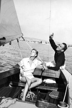 Humphrey Bogart and Lauren Bacall, 1944 via Harpers Bazaar