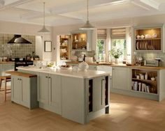 Tewkesbury Skye - Tewkesbury - Kitchen Families - Kitchen Collection - Howdens Joinery NOT GREEN Barn Kitchen, Rustic Kitchen Design, Kitchen Family Rooms, Shaker Kitchen, Modern Bathroom Design, Kitchen Layout, Country Kitchen, New Kitchen, Kitchen Dining