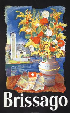 Vintage Travel Poster - Brissago - near of Ascona - Switzerland.