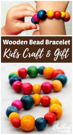 Learning how to make a wooden bead bracelet is a simple craft for first-time jewelry makers. Making beaded bracelets is an easy fine motor activity for kids and adults of all ages. No prior experience is necessary. This kid-made jewellery makes a great gift idea for Mother's Day, birthday's, and Christmas!