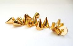 10 Gold Cone Bullet Spikes  10mm by TreeChild1 on Etsy, $4.75