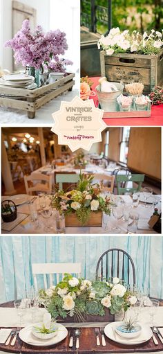vintage wooden crates wedding tables - Click image to find more Weddings Pinterest pins