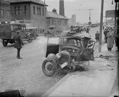 Car stolen by kids crashes into lawyer's car, killing him. by Boston Public Library, via Flickr