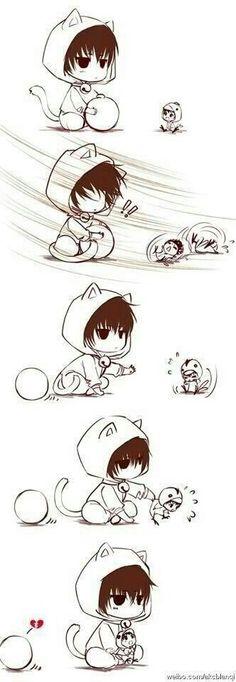 Chibi I dont know where that's from but it's adorable! Anime Neko, Kawaii Anime, Manga Anime, Art Anime, Kawaii Chibi, Cute Chibi, Kawaii Cute, Pikachu Chibi, Neko Neko