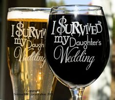 Mom & Dad Gift, Parents Gift, Just Married Gift, I Survived My Daughters Wedding (2) Glasses, Gift for Inlaws, Mother Father of the Bride on Etsy, $25.00