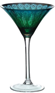 "Peacock Martini Glass by Artland   ""has a metallic finish of silver on the inside & on the outside the colour changes from a rich turquoise to a deep blue.  This unique & completely original effect is brilliantly finished off with a detailed peacock feather design running around the entirety of the bowl.""  ~ from The DRH Collection Limited, London"