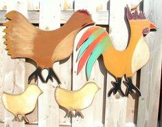 Cute, cute, cute...wood bird painted wall art wall hanging by folkybirdsandfish, via Etsy.