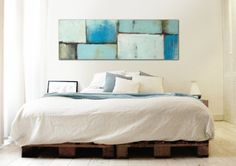 "XL Abstract painting - Blue and Blue Shades - Acrylic painting Modern Art -  59.1"" x 19.7"" FREE SHIPPING"