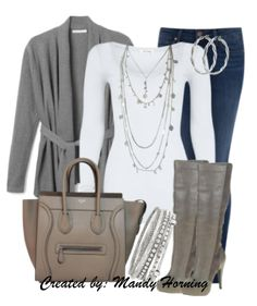 feat. Premier Designs jewelry #pdstyle jeans, white ls tee, grey boots, cardigan, and bag.